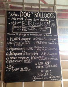 the dog's bollocks menu