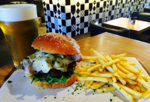 Burger and Chips at Bootlegger Coffee Company